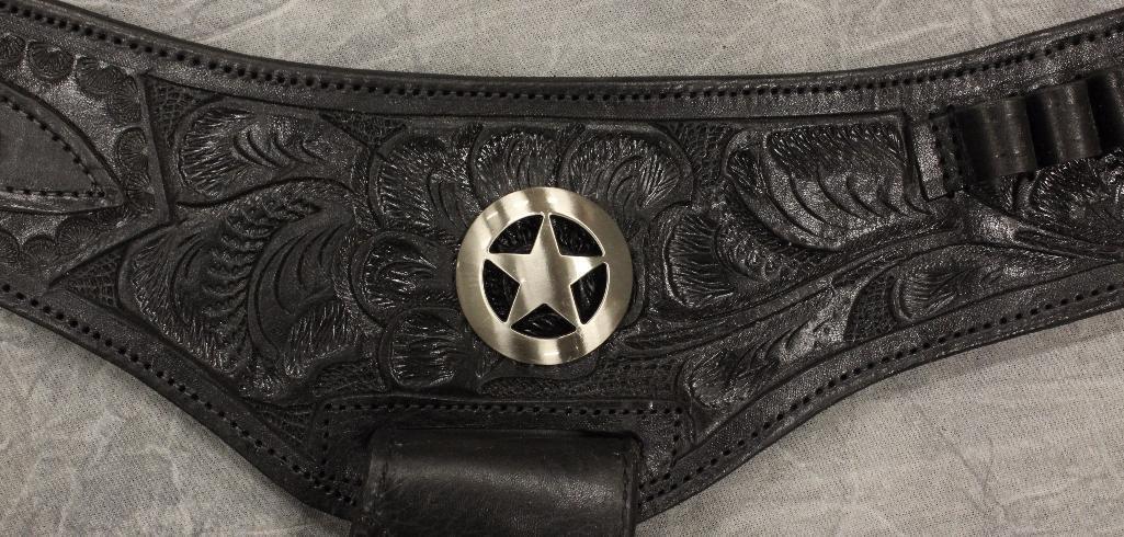 Black Double Holster Gun Belt - 4