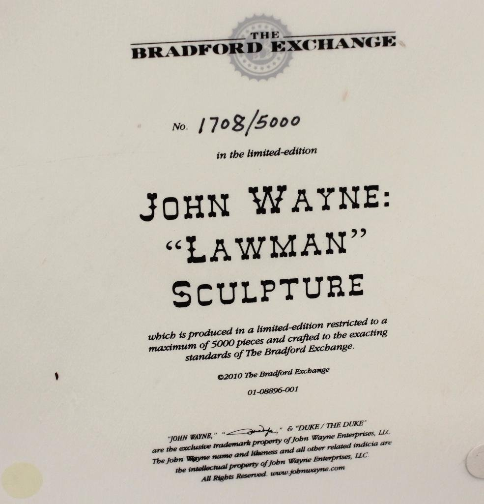 "Bradford Exchange John Wayne Sculpture ""Lawman"" - 5"