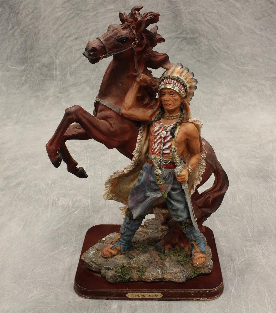 American Indian Standing with Rearing Horse Statue