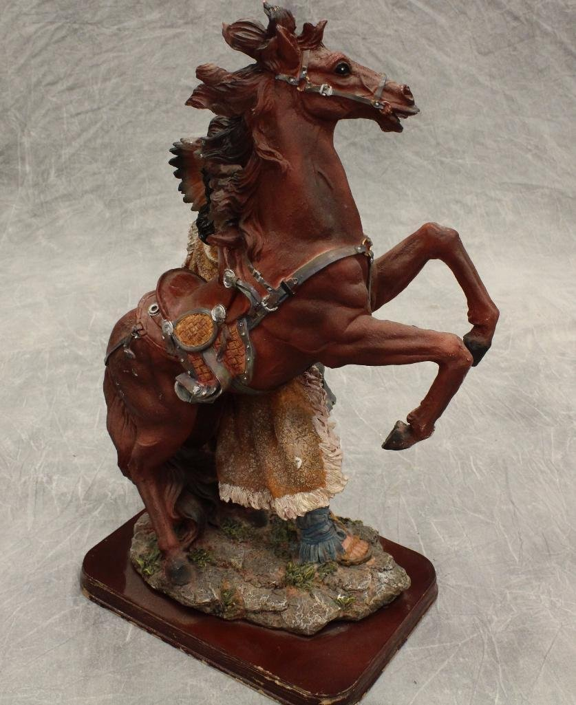 American Indian Standing with Rearing Horse Statue - 2