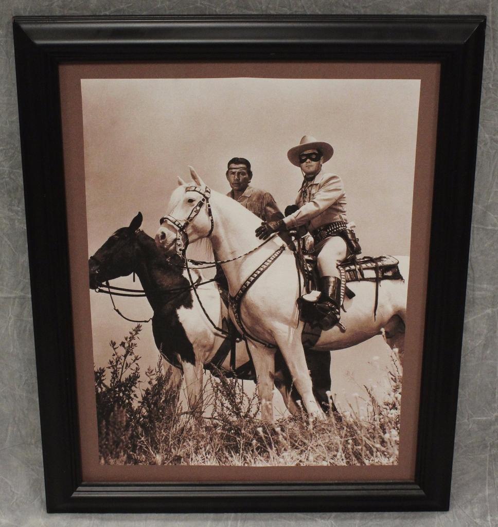 Lone Ranger and Tonto on Horseback Sepia