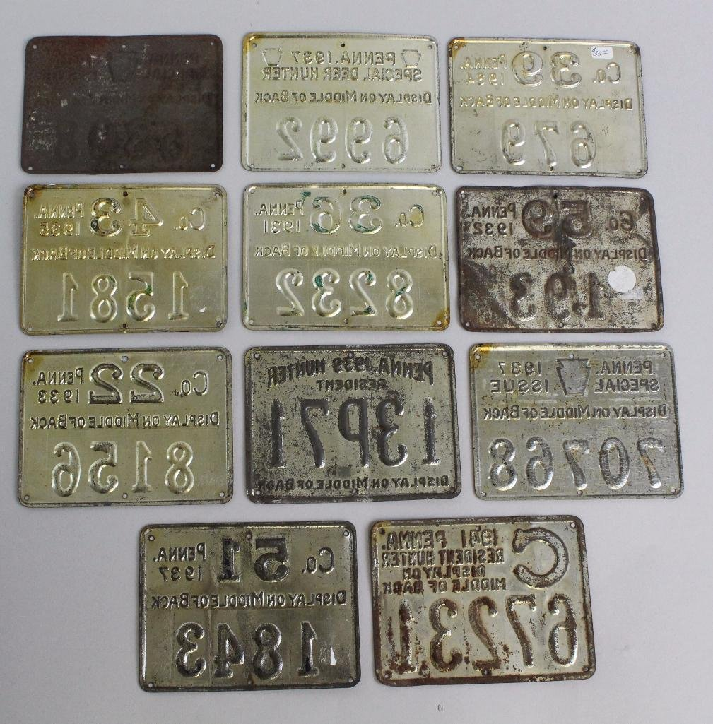 Lot of Pa. Metal Hunting Licenses - 2