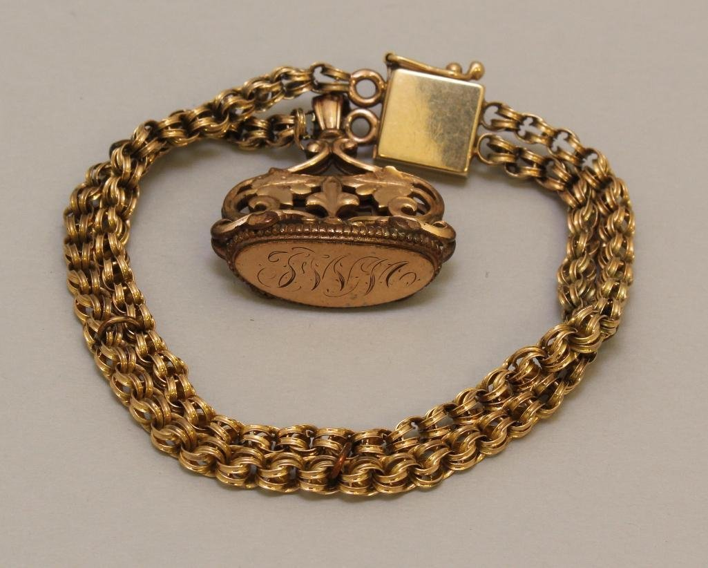 Gold Bracelet with Fob
