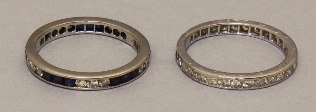 Platinum Rings with Sapphire and Diamond. Set of 2.