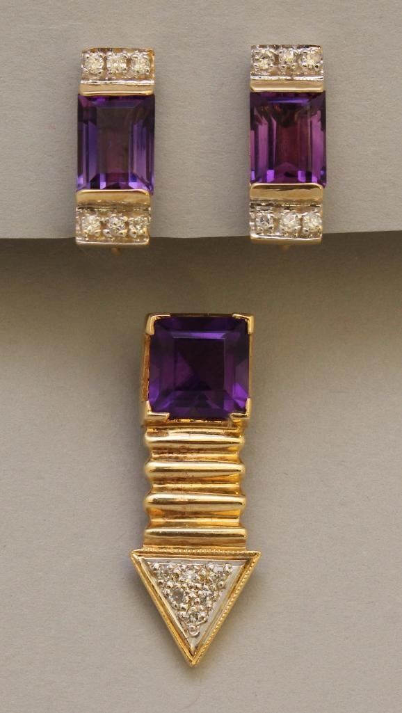 Gold Pendant and Earrings with Amethyst and Diamond