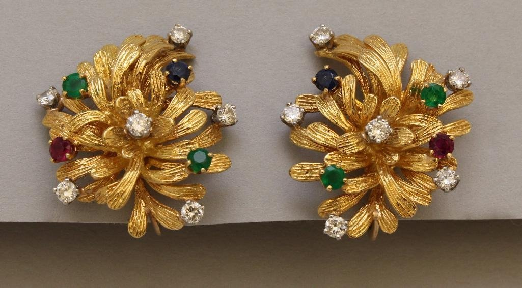Gold Earrings with Emerald, Ruby, Sapphire and Diamond