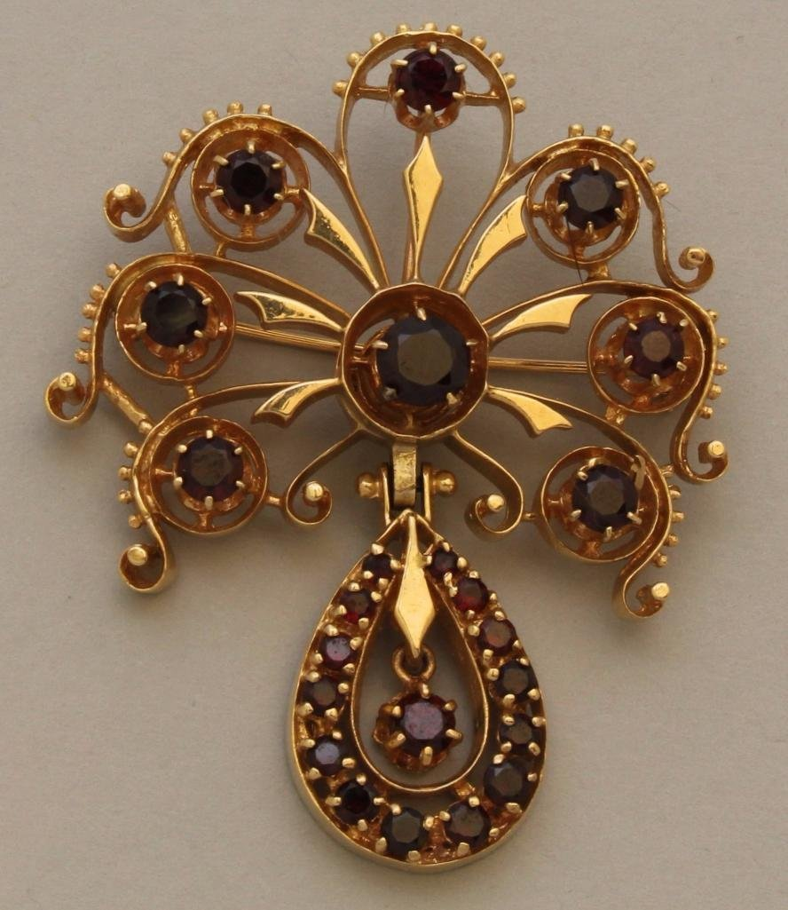Gold Pin with Garnets