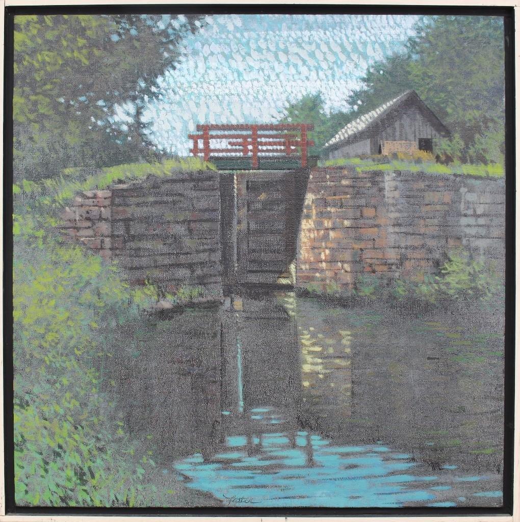 "R. John Foster (1908-1989, Pennsylvania) ""Canal Lock"""