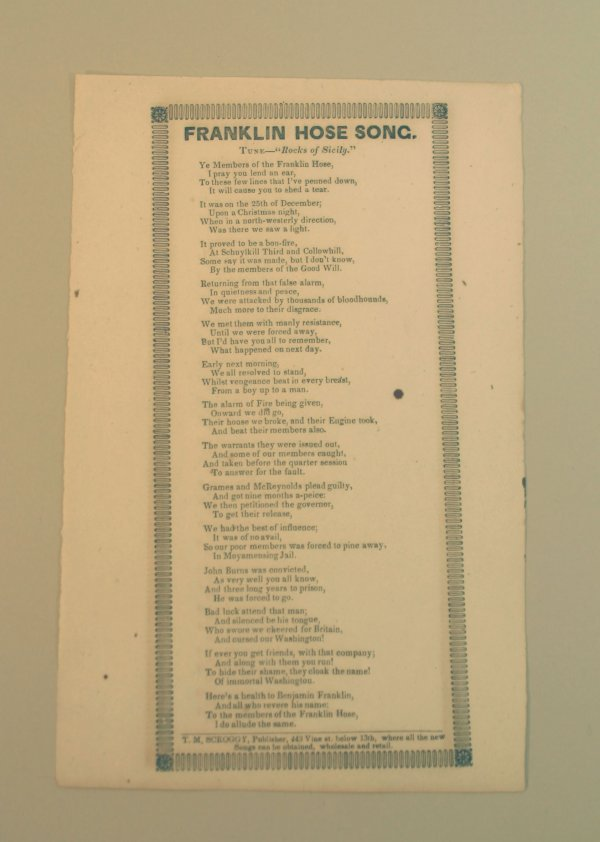2013: 19th Century Fire Department Song Sheet