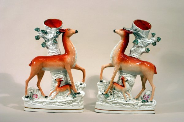 2383: Pair of Staffordshire Spill Vases
