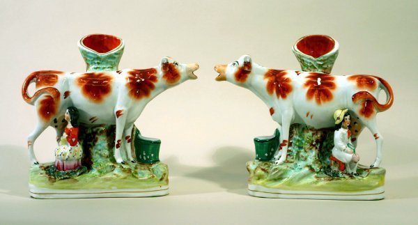 2384: Pair of Staffordshire Spill Vases