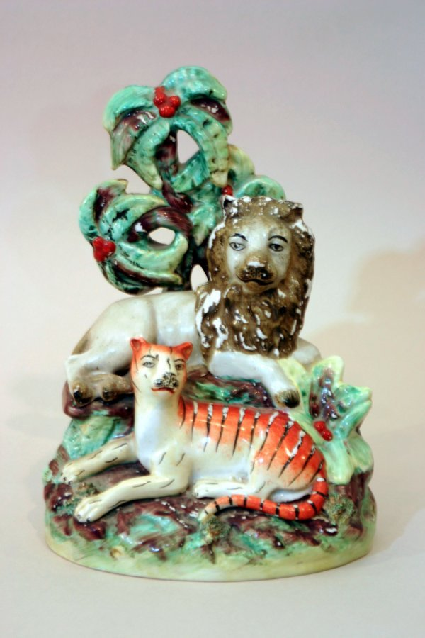2390: Staffordshire China Lion and Tiger Group