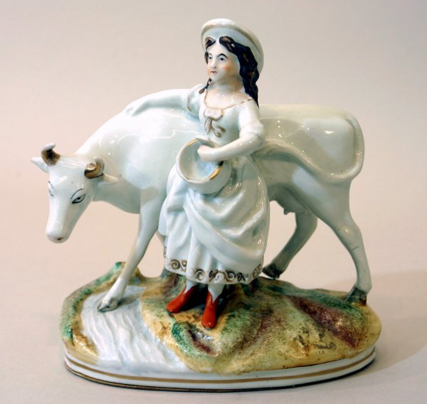 2391: Staffordshire China Milkmaid and Cow