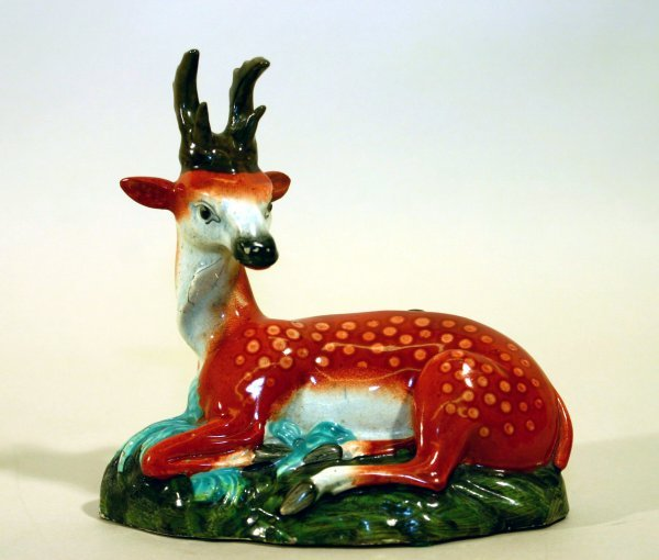 2392: Staffordshire China Reclining Antelope