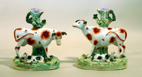 2393: Pair of Staffordshire China Spill Vases