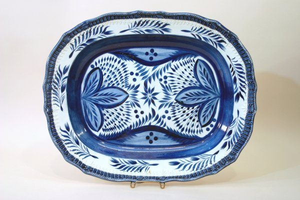 2394: Staffordshire Blue and White China Platter