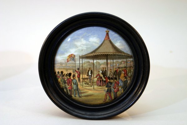 2398: 3 Framed Staffordshire China Plaques