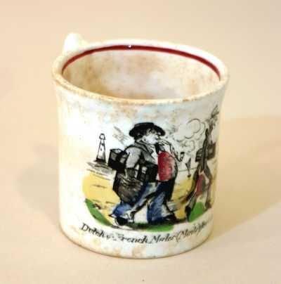 2401: 4 Small Staffordshire China Mugs