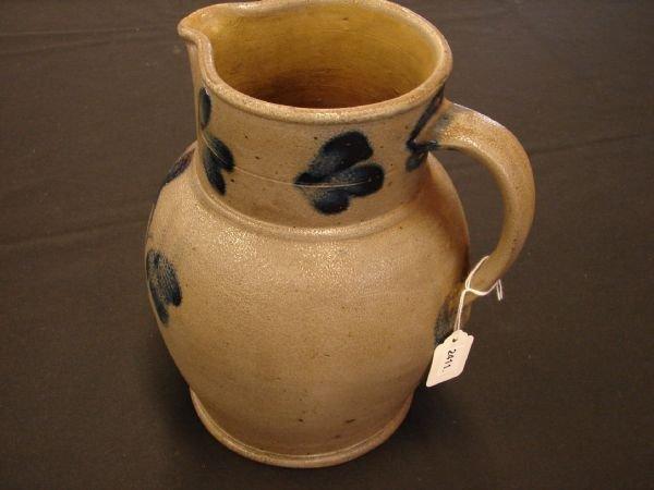 2411: Blue Decorated Stoneware Pitcher