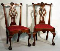 2566 Pair of Chippendale Walnut Side Chairs