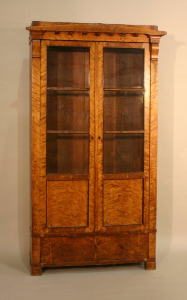 2628: Biedermeier Figured Blondewood Cabinet