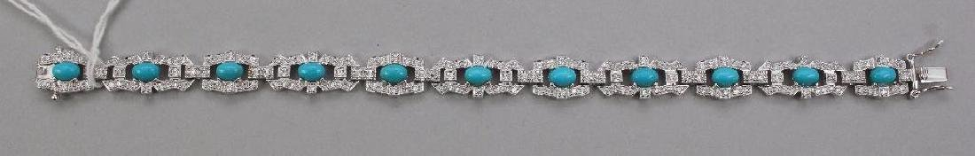 STERLING BRACELET. TURQUOISE AND CZ