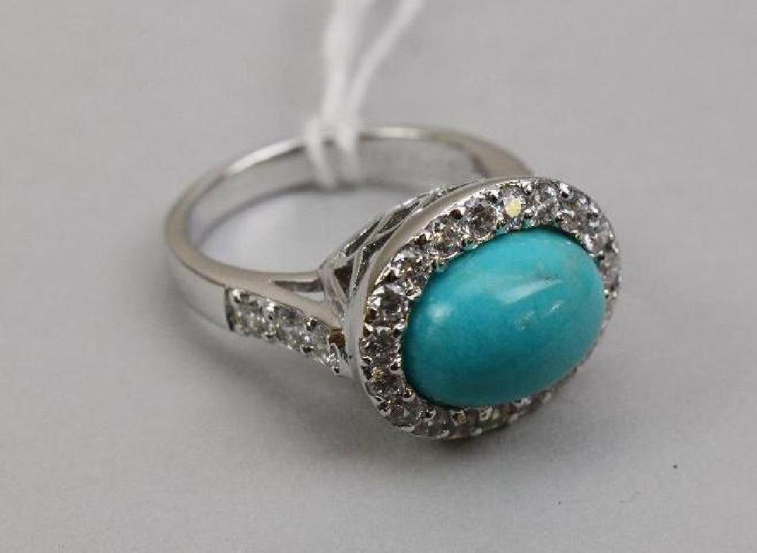STERLING RING. TURQUOISE AND CZ