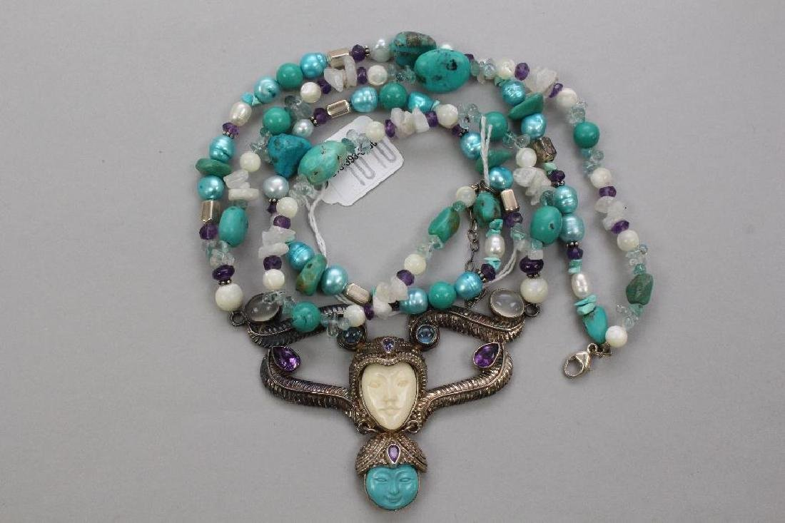 STERLING NECKLACE. SAJEN. TURQUOISE, BONE, PEARL,