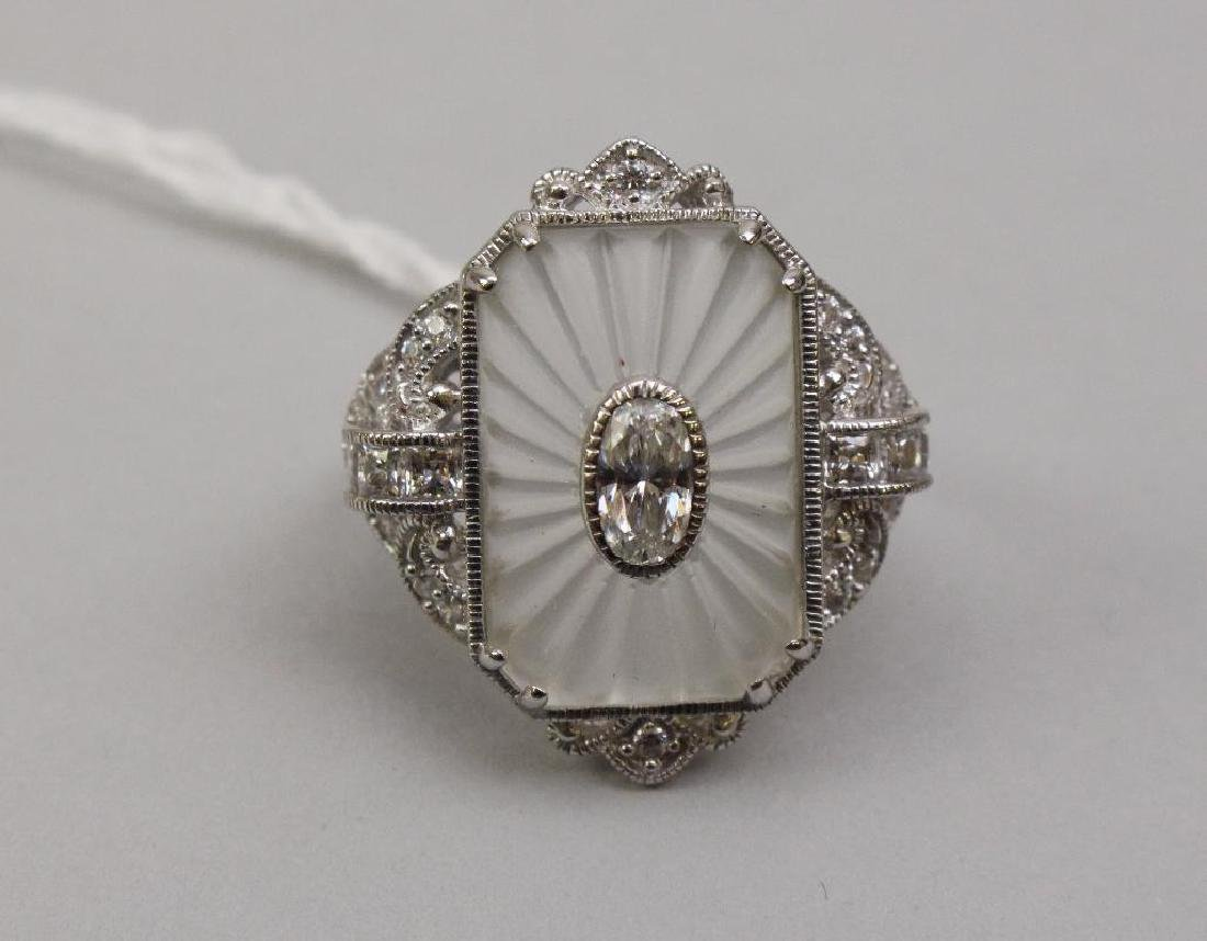 STERLING RING. CAMPHOR GLASS TYPE, CZ