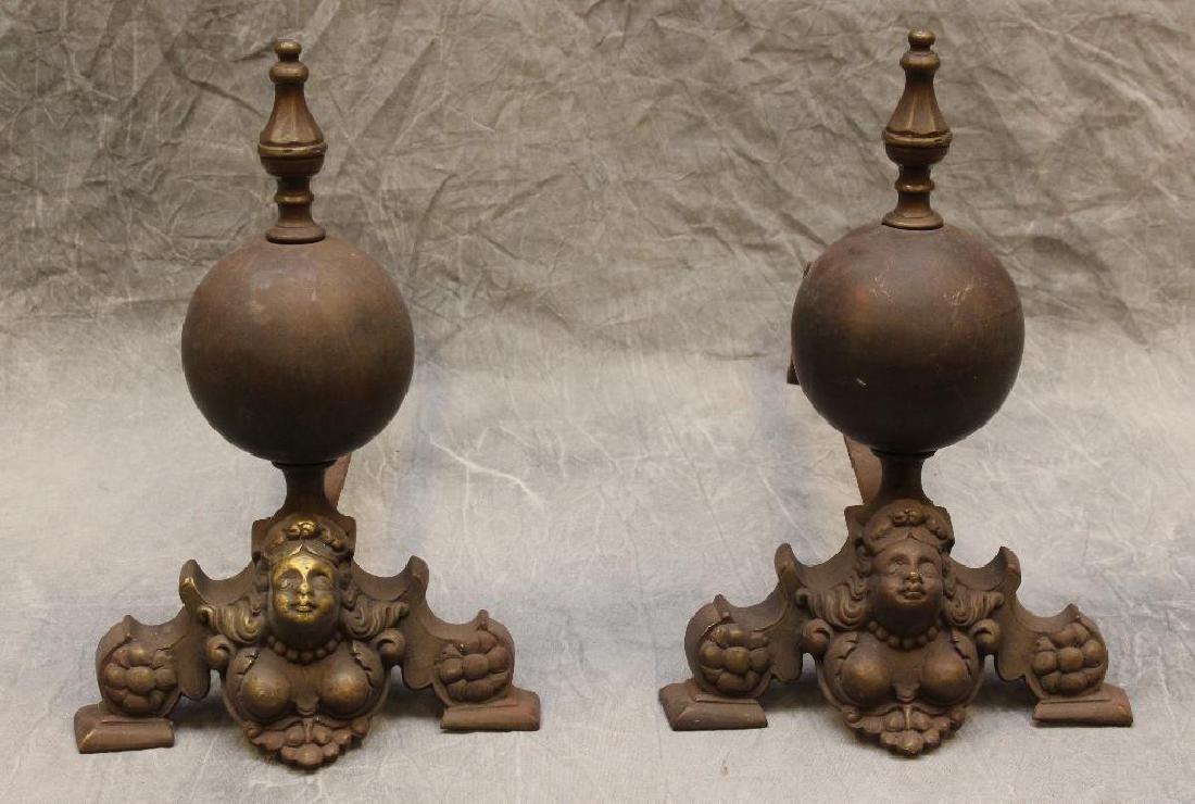 (2) Pair of Ornate Andirons