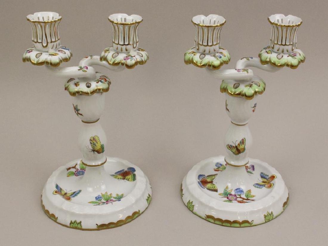 (2) Pair of Herend Porcelain Candelabras