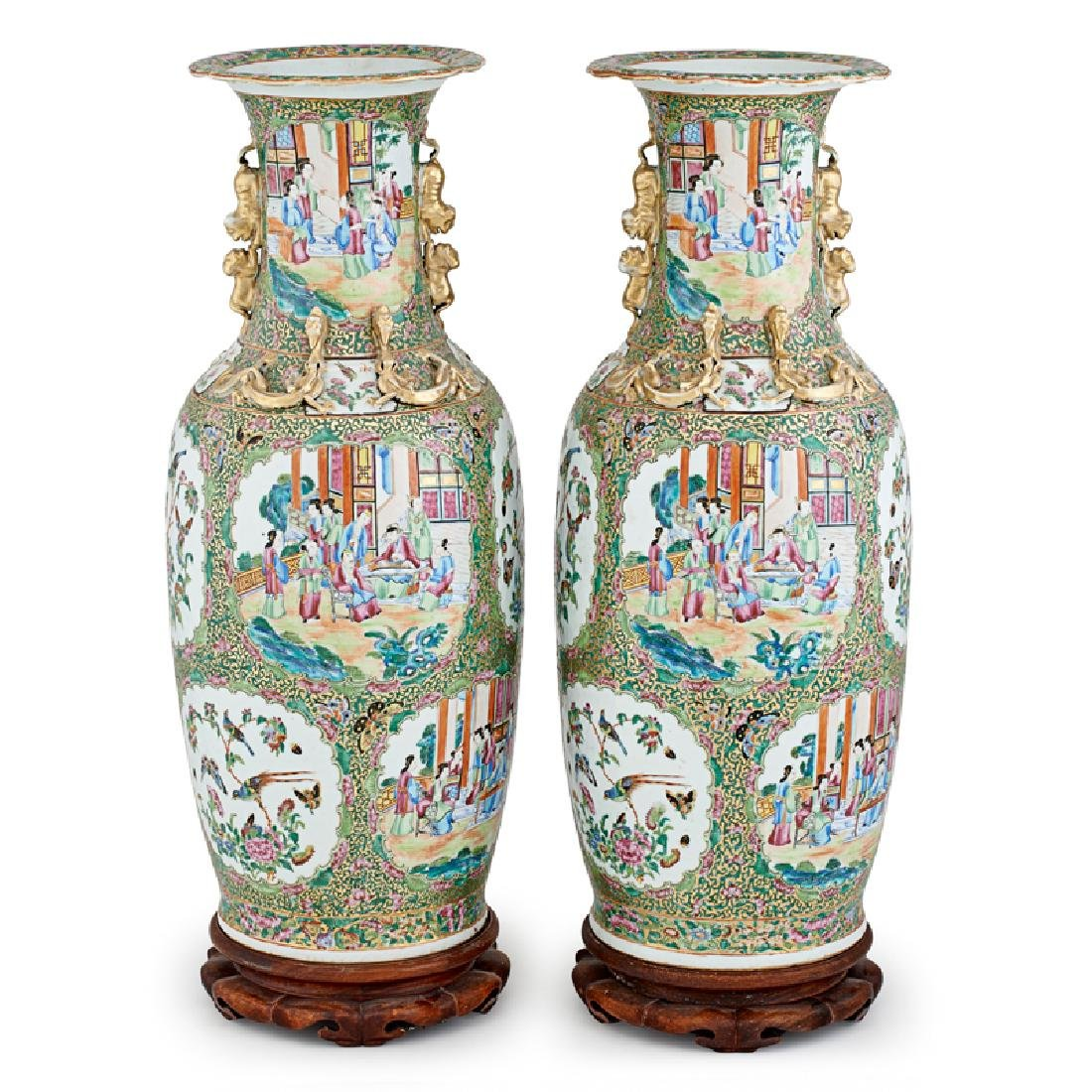 PAIR OF CHINESE EXPORT FAMILLE ROSE FLOOR VASES