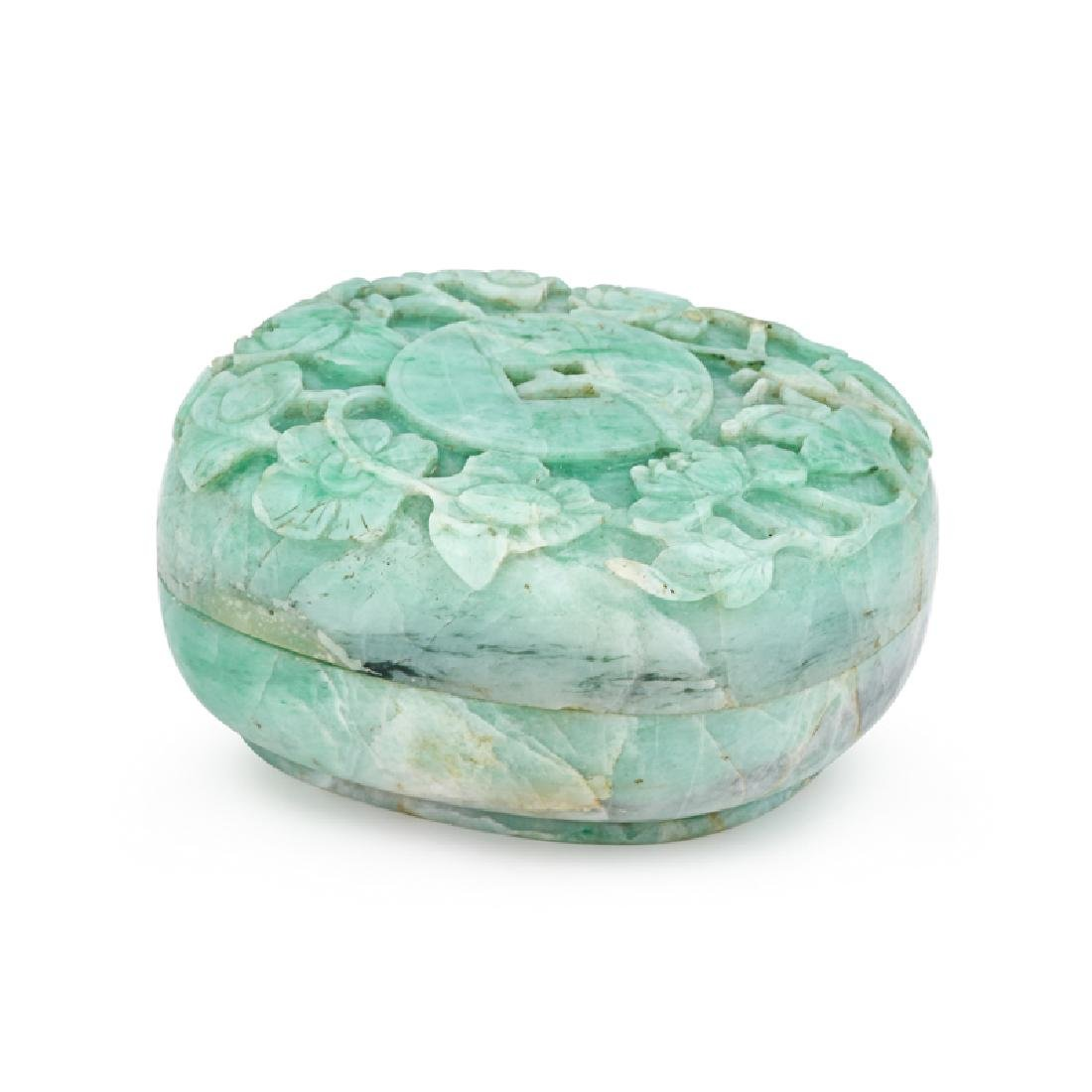 CHINESE CARVED APPLE GREEN JADEITE BOX
