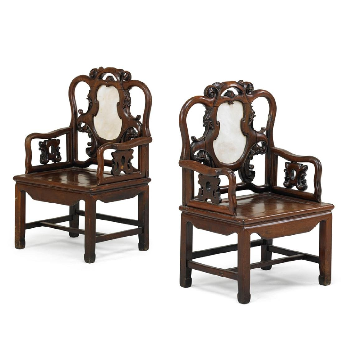 PAIR OF MARBLE INSET CHINESE HONGMU CHAIRS