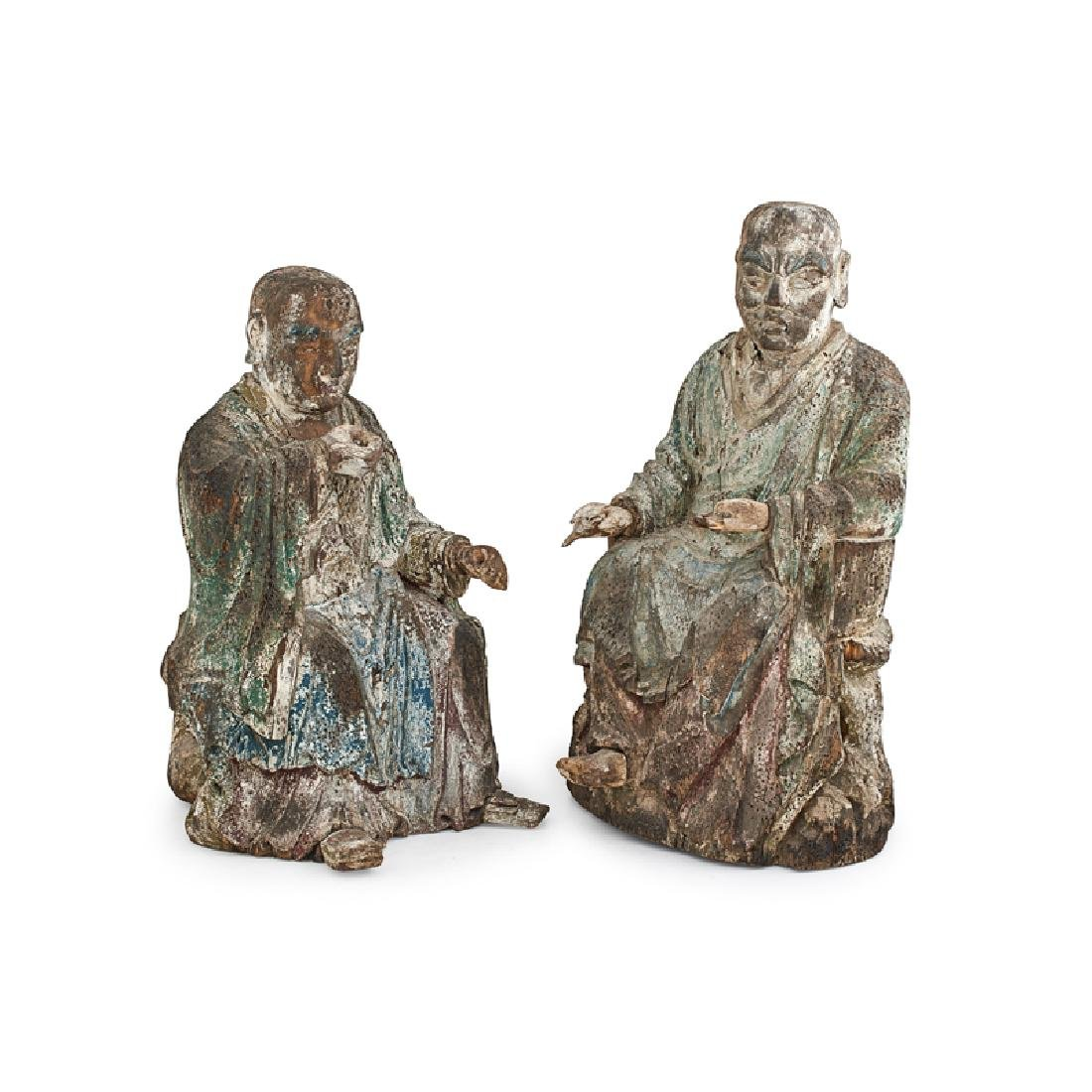 PAIR OF KOREAN CHOSON WOOD CARVED FIGURES