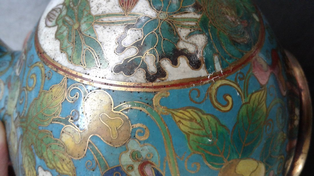 PAIR OF CHINESE CLOISONNE VASES - 4