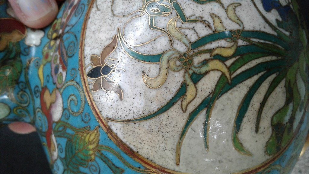 PAIR OF CHINESE CLOISONNE VASES - 7