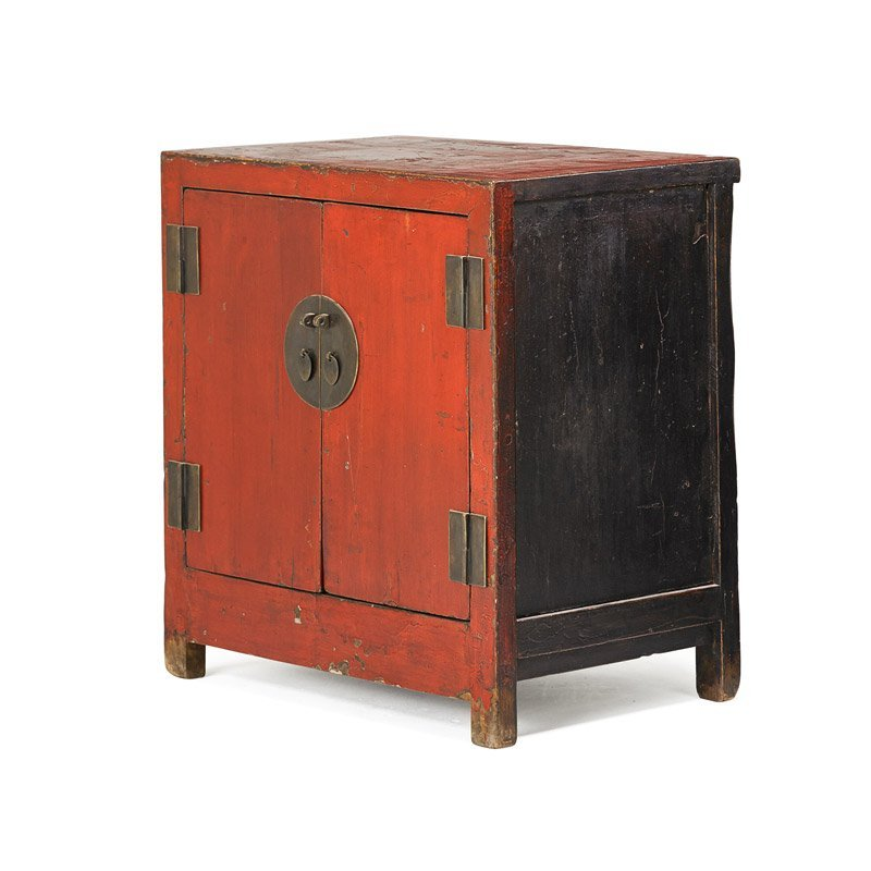 CHINESE RED LACQUERED SIDE CABINET