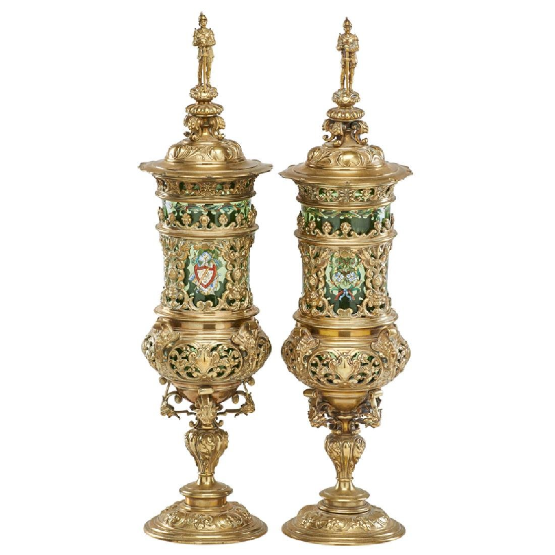 PAIR OF GILT BRONZE AND ENAMELED GLASS POKALS