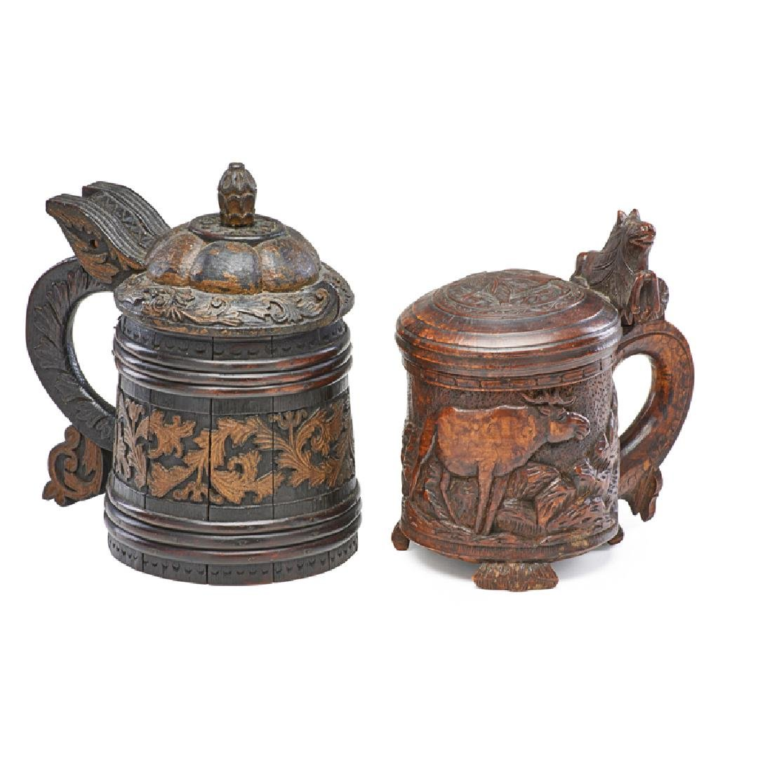TWO TREENWARE STEINS