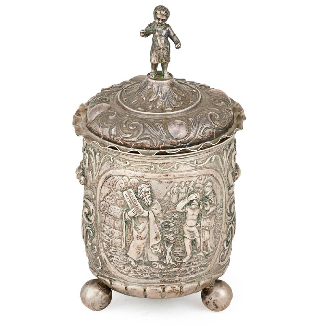 SILVER REPOUSSE COVERED BEAKER