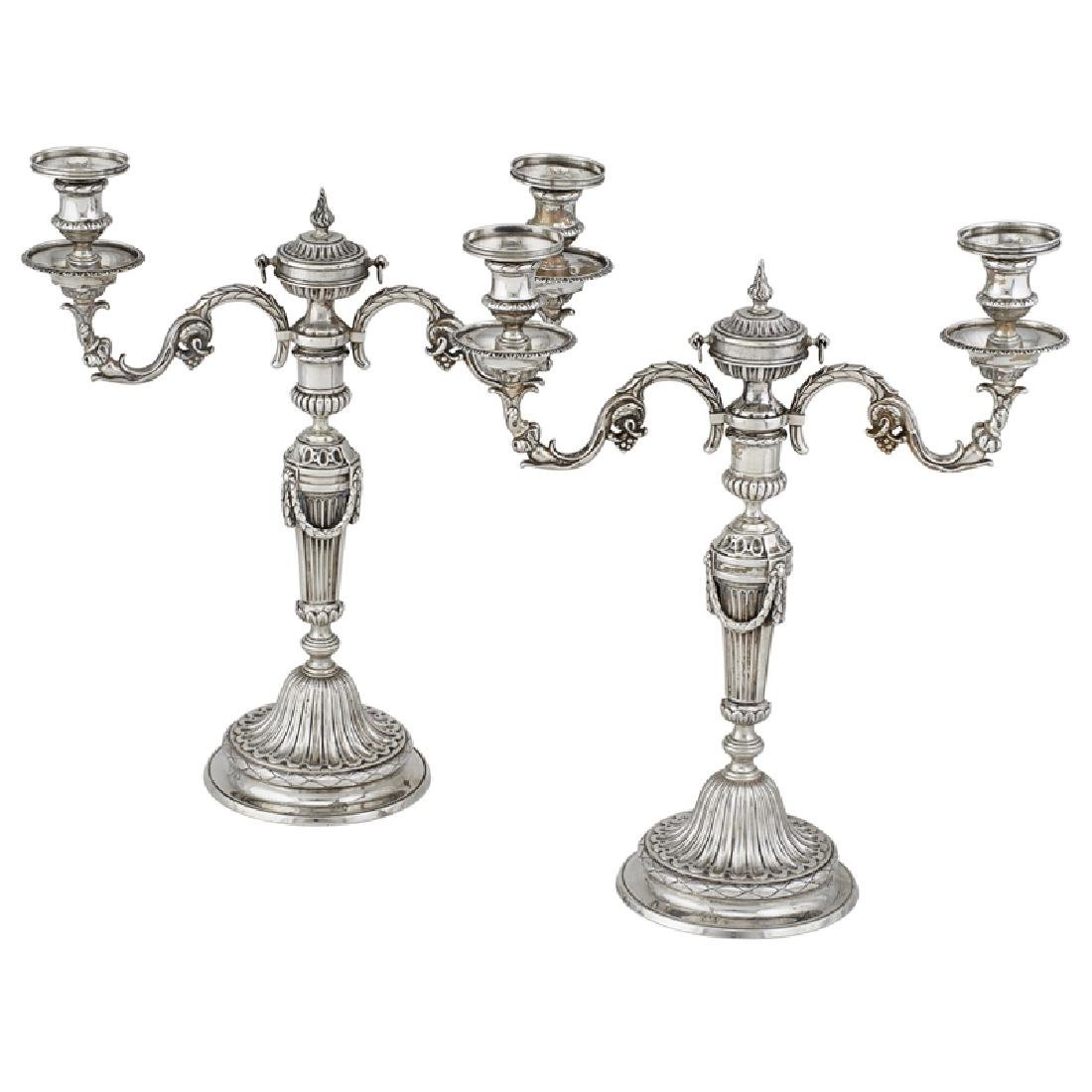 VICTORIAN SILVER TWO-LIGHT CANDELABRA, BASED ON...