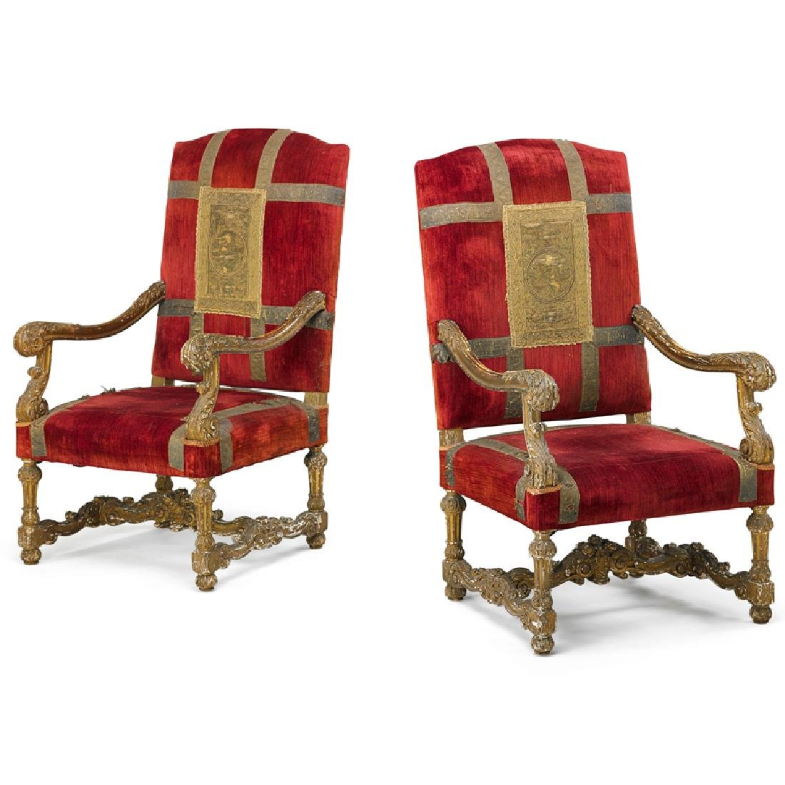 PAIR OF ITALIAN BAROQUE STYLE GILTWOOD ARMCHAIRS