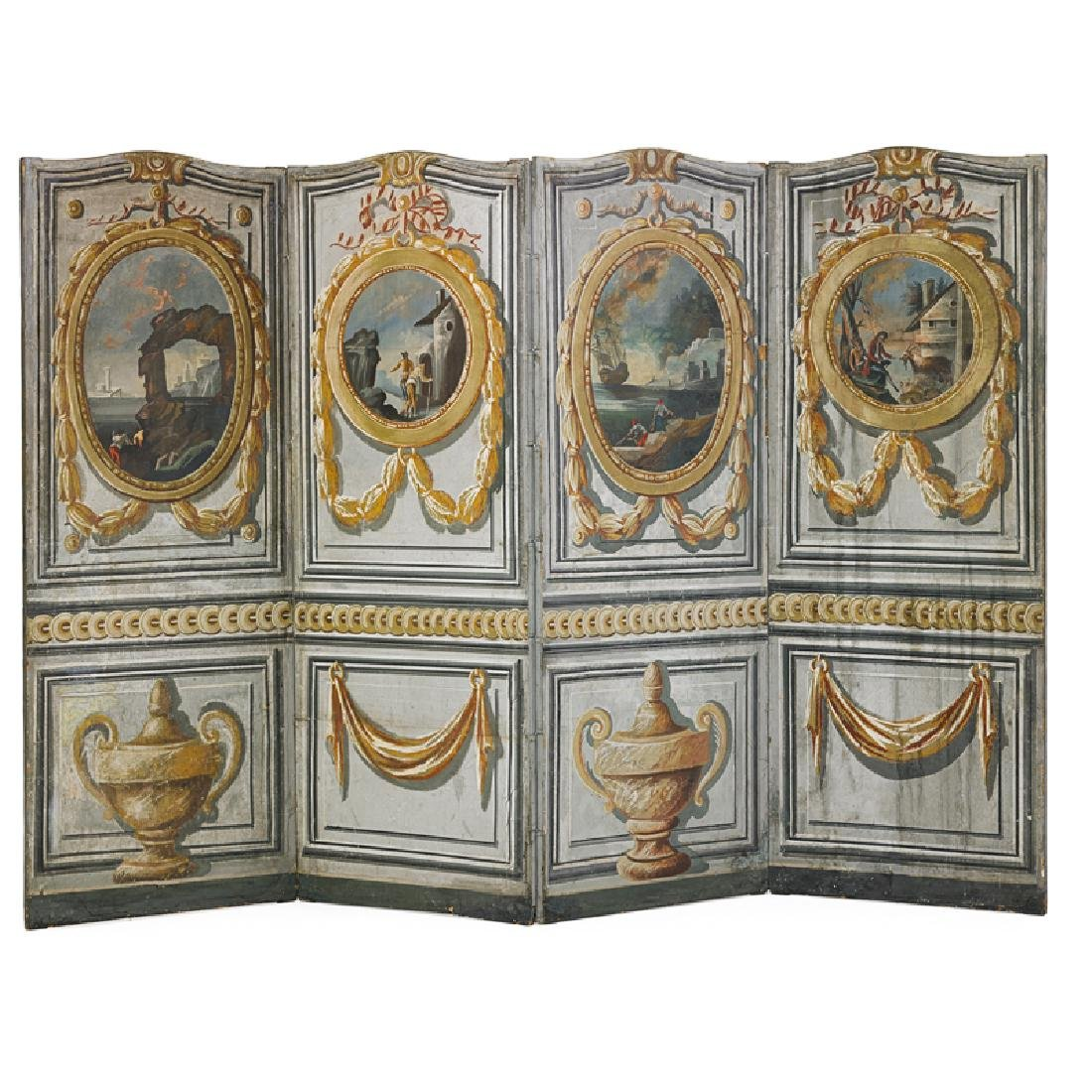 FRENCH PAINTED CANVAS FOUR PANEL SCREEN