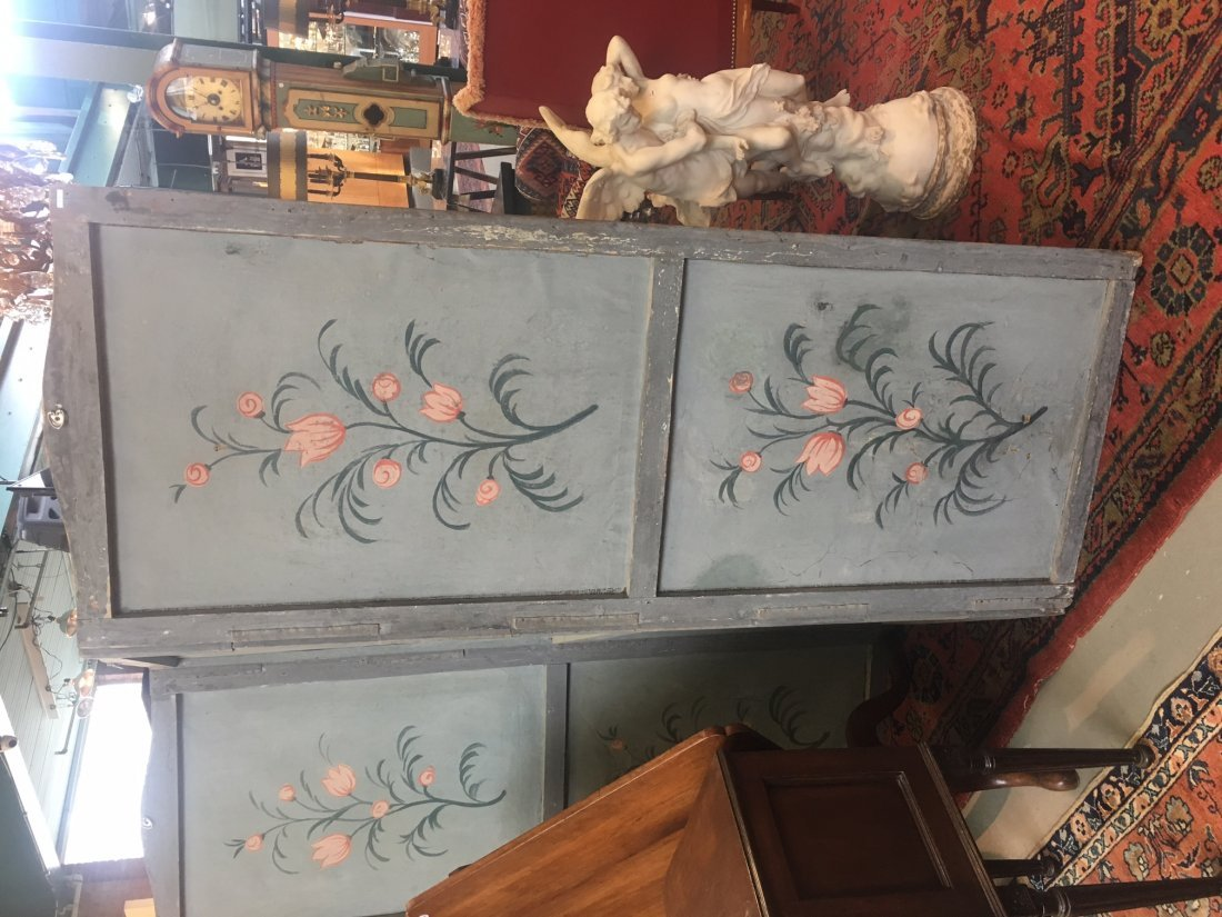 FRENCH PAINTED CANVAS FOUR PANEL SCREEN - 2