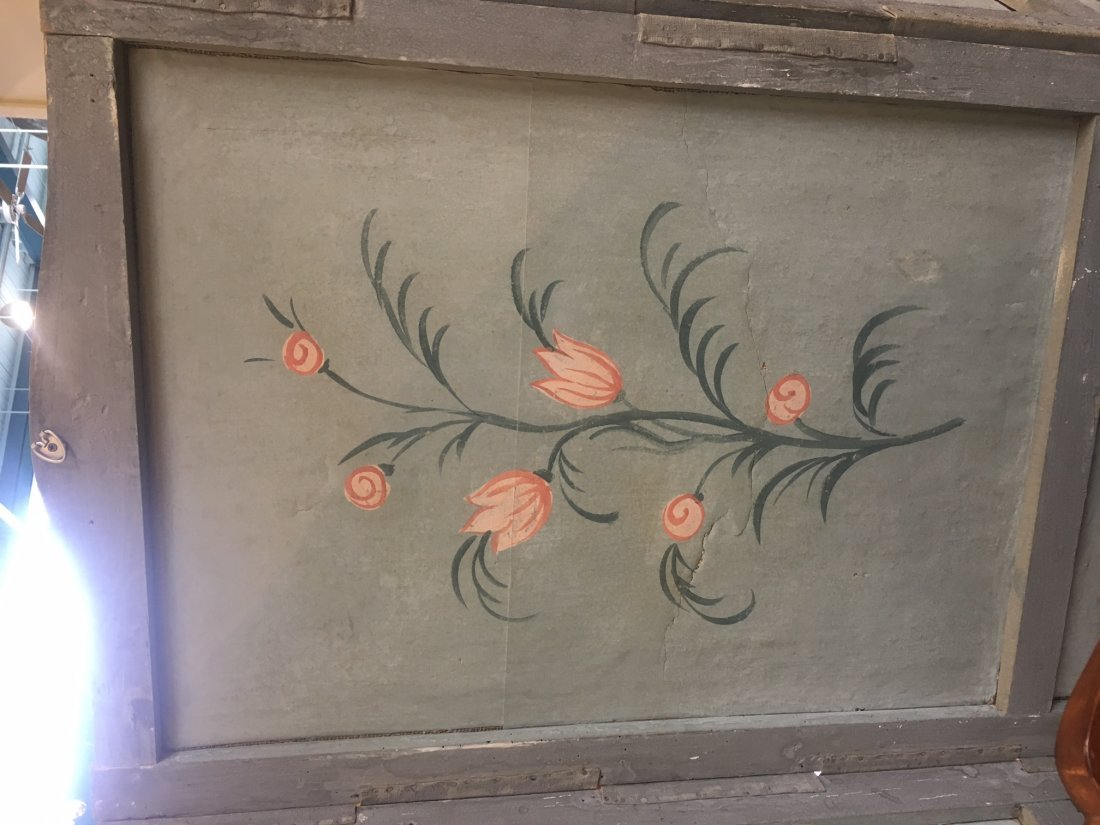 FRENCH PAINTED CANVAS FOUR PANEL SCREEN - 3