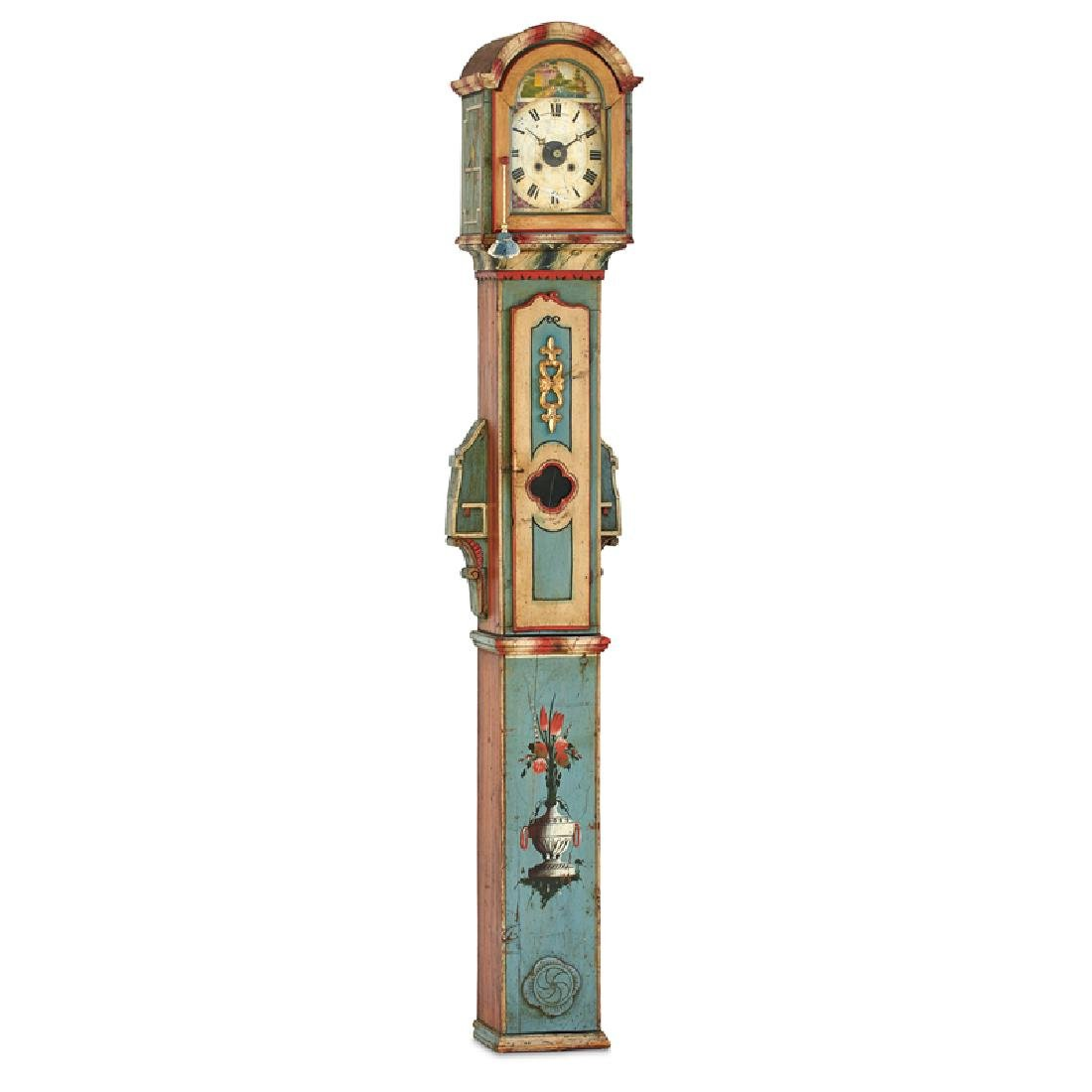 CARVED AND PAINTED WOOD TALL CASE CLOCK