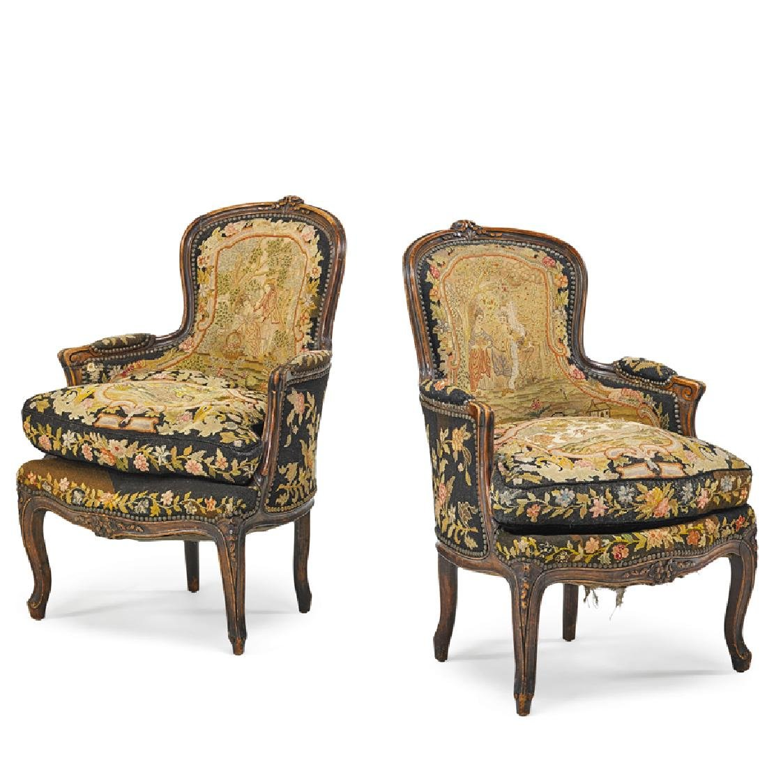 PAIR OF LOUIS XV STYLE WALNUT BERGERES