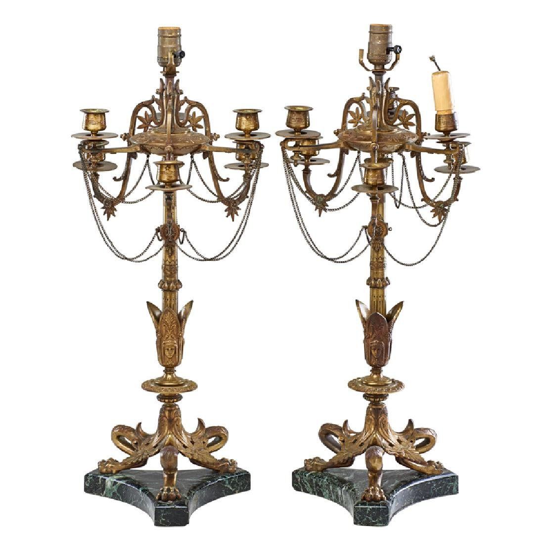 PAIR OF FRENCH EMPIRE STYLE CANDELABRA TABLE LAMPS