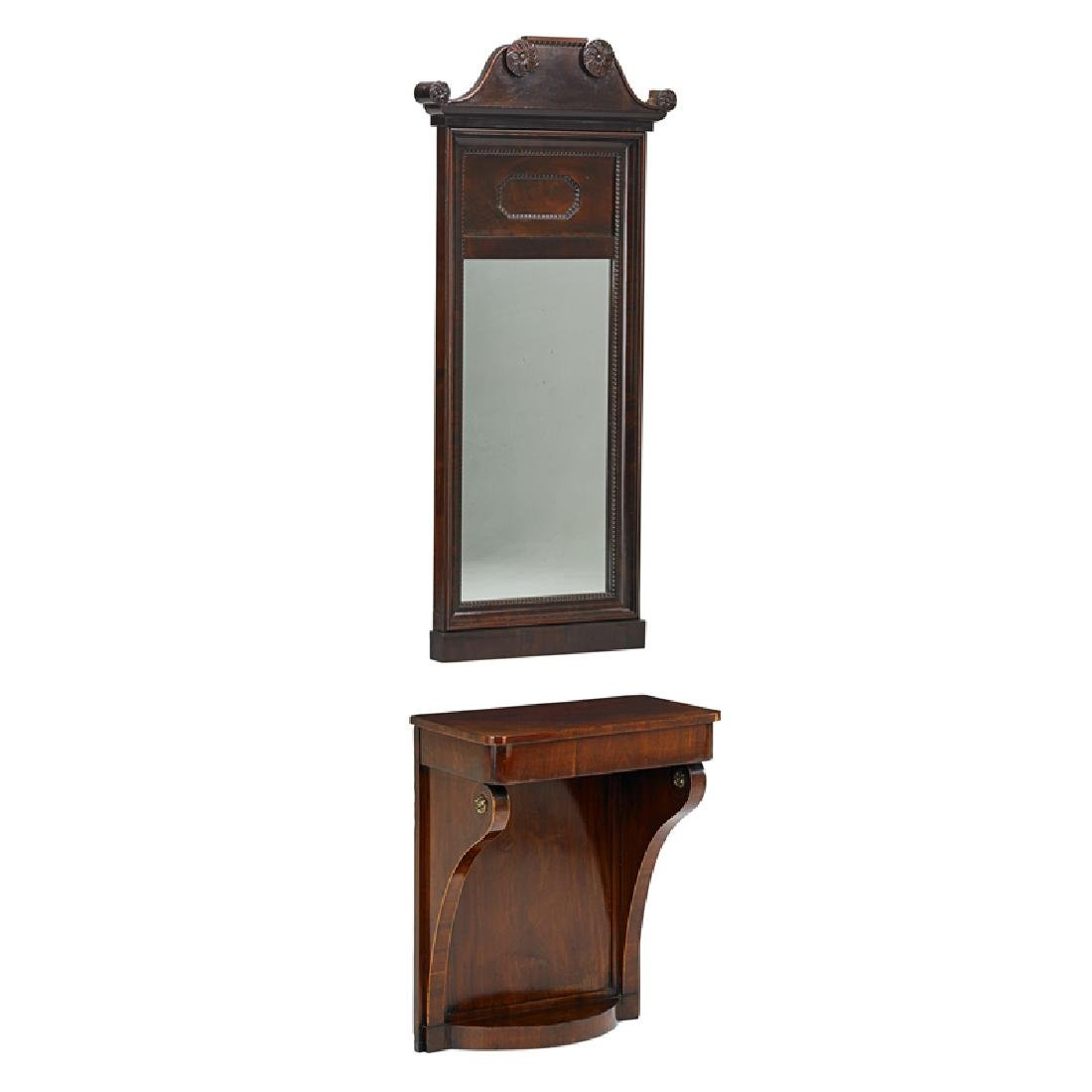 BALTIC NEOCLASSICAL MAHOGANY CONSOLE WITH MIRROR